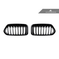 AutoTecknic Replacement Glazing Black Front Kidney Grills - F39 X2 (P/N: BM-0253-GB)