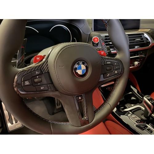 AutoTecknic Carbon Alcantara Steering Wheel Trim - F90 M5 | F97/F98 X3M/X4M (P/N: BM-0282-S)