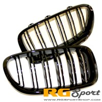 Autotecknic BMW Replacement Dual Slat Front Kidney Grilles F10 Sedan F11 Wagon 5 Series M5 LCI Style (P/N: BM-0067-DS)