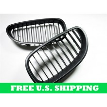 Autotecknic BMW Replacement ABS Matte Black Front Grilles E60 Sedan E61 Wagon 5 Series (P/N: BM-0066)