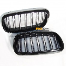 AutoTecknic BMW Replacement Dual Slat Kidney Front Grill For 2014+ F15 / F16 X5 / X6 2015+ F85 / F86 X5M / X6M (P/N: BM-0174-DS)