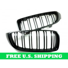 Autotecknic BMW Replacement ABS Front Grilles Dual Slats F80/F82 M3/M4 Kidney Grill Style for F32 4 Series 428 / 435 (P/N: BM-0175-DS)